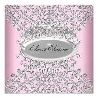 Sweet 16 Sixteen Birthday Pink Diamonds Image Invites