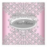 "Sweet 16 Sixteen Birthday Pink Diamonds Image 5.25"" Square Invitation Card"