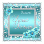 Sweet 16 Sixteen Birthday Teal Blue Flower Silver Invitations