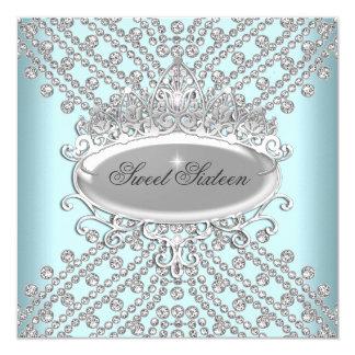 Sweet 16 Sixteen Birthday Teal White Diamonds 5.25x5.25 Square Paper Invitation Card