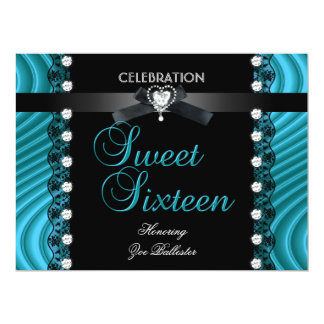 Sweet 16 Sixteen Black Teal Blue White Lace Card