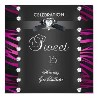 "Sweet 16 Sixteen Black Tie Pink White Zebra 5.25"" Square Invitation Card"