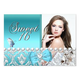 Sweet 16 Sixteen Blue Damask Butterfly Add Photo 5x7 Paper Invitation Card