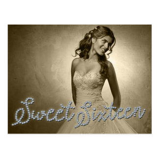 SWEET 16 SIXTEEN DIAMOND GLAMOUR PHOTO Postcard