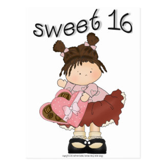 ♥ sweet 16 (sixteen) ♥ girly giggles postcard