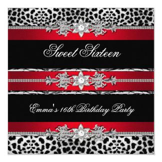 Sweet 16 Sixteen Leopard Red Black Diamond 2 Card