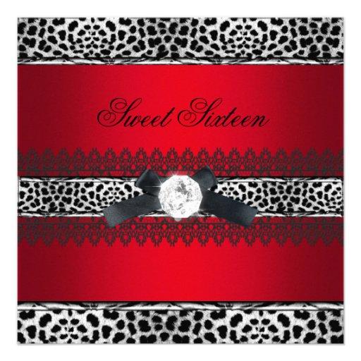 Sweet 16 Sixteen Leopard Red Black Diamond Custom Announcements