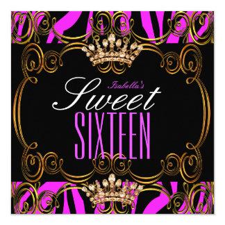 Sweet 16 Sixteen Party Hot Pink Bronze Tiara Zebra Card
