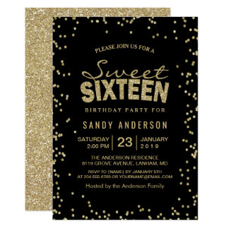 Sweet 16 Sixteen Party | Trendy Gold Glitter Dots Card