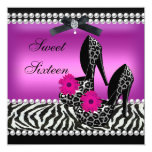 Sweet 16 Sixteen Pink Black Zebra Leopard 5.25x5.25 Square Paper Invitation Card