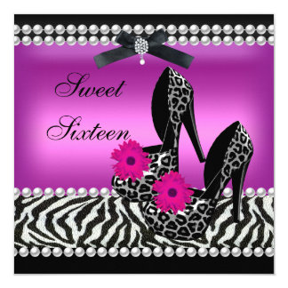 Sweet 16 Sixteen Pink Black Zebra Leopard 5.25x5.25 Square Paper Invitation Card
