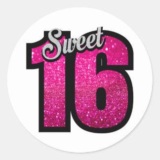 Sweet 16 sixteen pink glitter birthday party girl classic round sticker