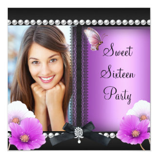 """Sweet 16 Sixteen Pink Purple Black Butterfly 5.25"""" Square Invitation Card"""