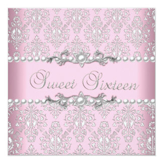 "Sweet 16 Sixteen Pink Silver White Pearl Lace 5.25"" Square Invitation Card"