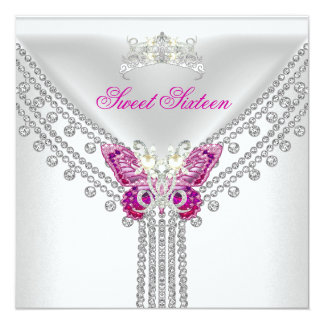 Sweet 16 Sixteen Pink  White Butterfly Personalized Invite