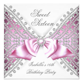 Sweet 16 Sixteen Pink White Diamond Party Card