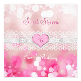 Sweet 16 Sixteen Pink White Lace Birthday Party Personalized Announcement