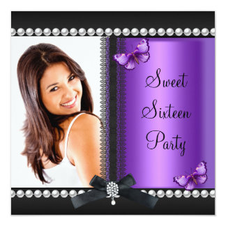 Sweet 16 Sixteen Purple Black Butterfly Personalized Announcement