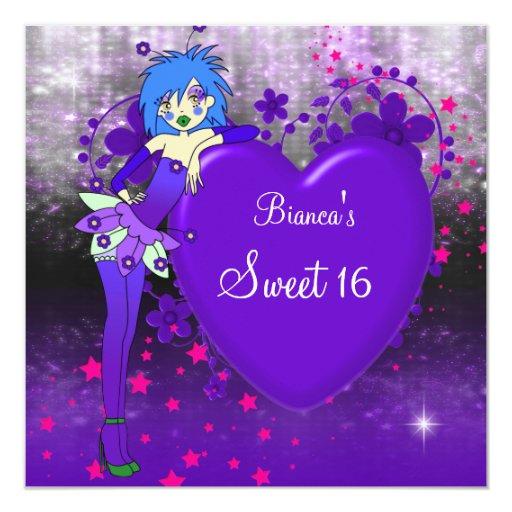 Sweet 16 Sixteen Purple Heart Fairy Pink Stars Invitation