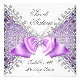 Sweet 16 Sixteen Purple White Diamond Party 5.25x5.25 Square Paper Invitation Card