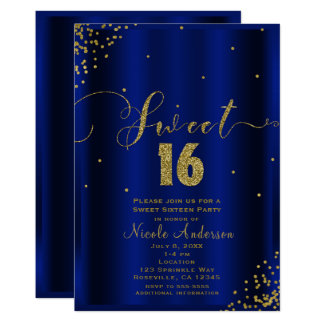 SWEET 16 Sixteen Royal Blue Gold Confetti Corners Card