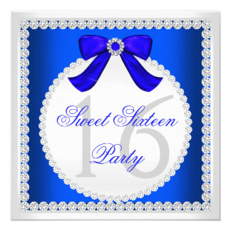 Sweet 16 Sixteen Royal Blue White Diamond Party 5.25x5.25 Square Paper Invitation Card