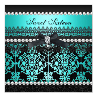 Sweet 16 Sixteen Teal Black Pearl Lace Damask 5.25x5.25 Square Paper Invitation Card