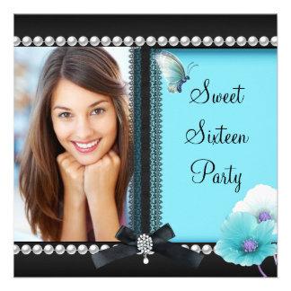 Sweet 16 Sixteen Teal Blue Black Butterfly Custom Announcement