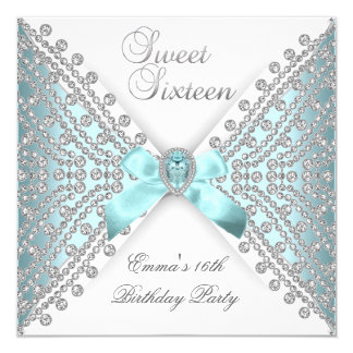 Sweet 16 Sixteen Teal Blue Silver White Diamond Card