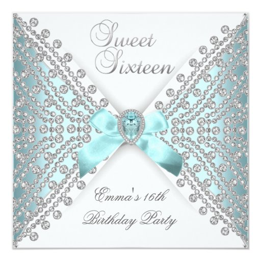 Sweet 16 Sixteen Teal Blue Silver White Diamond Personalized Announcements