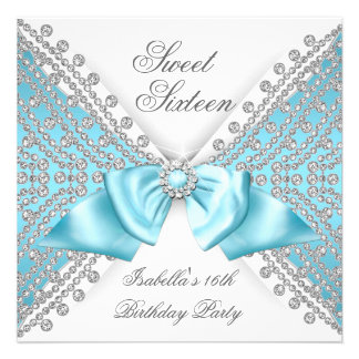 Sweet 16 Sixteen Teal Blue White Diamond Party 2 Announcement