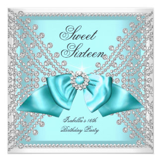 Sweet 16 Sixteen Teal Blue White Diamond Party 3c 5.25x5.25 Square Paper Invitation Card