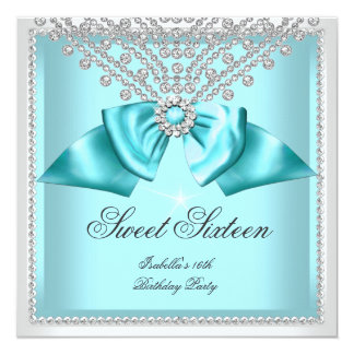Sweet 16 Sixteen Teal Blue White Diamond Party 3d Card