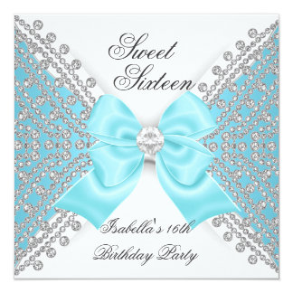 """Sweet 16 Sixteen Teal Blue White Diamond Party 5.25"""" Square Invitation Card"""