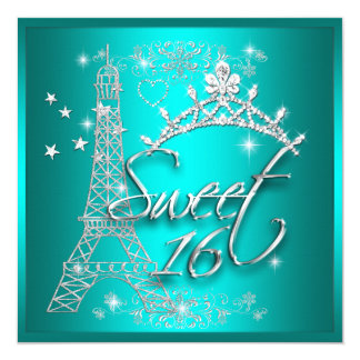 Sweet 16 Sixteen Teal Tiara Eiffel Tower Card