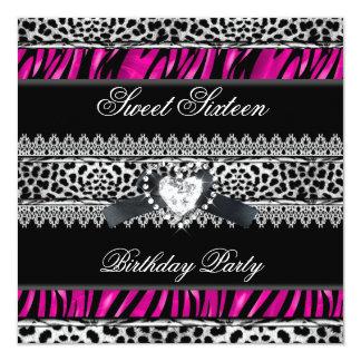 Sweet 16 Sixteen Zebra Leopard Pink Black Diamond Card