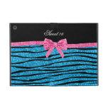 Sweet 16 sky blue glitter zebra stripes cases for iPad mini