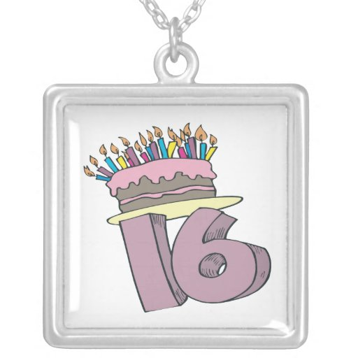 Sweet 16 square pendant necklace