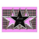"Sweet 16 Star Party Invitation 5"" X 7"" Invitation Card"