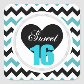 Sweet 16 Stickers: Blue and Black Chevron Print