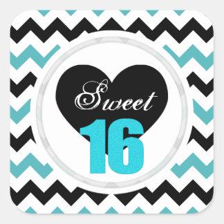 Sweet 16 Stickers: Blue and Black Chevron Print Square Sticker