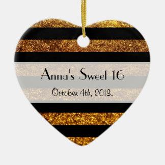 Sweet 16 - Stripes, Lines, Glitter - Gold Black Ornaments