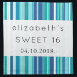 "Sweet 16 - Stripes (Parallel Lines) - Blue White Cloth Napkin<br><div class=""desc"">This image features seamless stripes (striped pattern). Stripes are in blue and white color. Funky and artistic colorful composition. A modern, unique graphic art work for the quirky modernist in you. Stripe is a long, narrow band or strip differing in color or texture from the surface on either side of...</div>"
