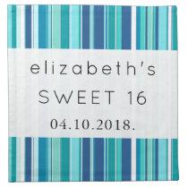 Sweet 16 - Stripes (Parallel Lines) - Blue White Cloth Napkin