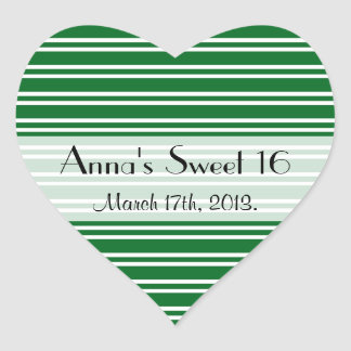 Sweet 16 - Stripes Parallel Lines - Green Stickers