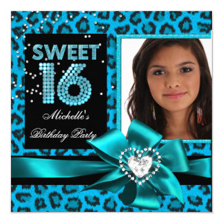 Sweet 16 Sweet Sixteen Blue Leopard Photo Card