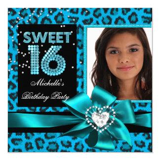 Sweet 16 Sweet Sixteen Blue Leopard Photo 5.25x5.25 Square Paper Invitation Card