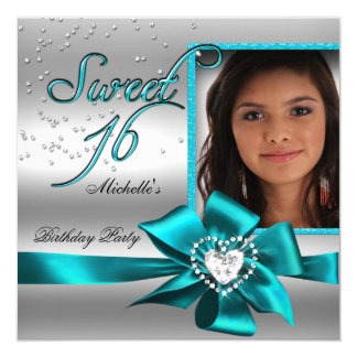 Sweet 16 Sweet Sixteen Blue Silver Photo 5.25x5.25 Square Paper Invitation Card