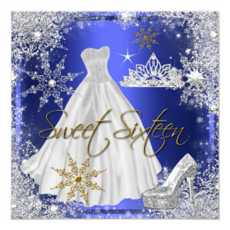 Sweet 16 Sweet Sixteen Blue White Gold Elite 5.25x5.25 Square Paper Invitation Card
