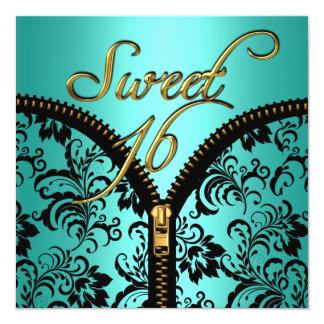 Sweet 16 Sweet Sixteen Damask Teal Blue Gold Black Card